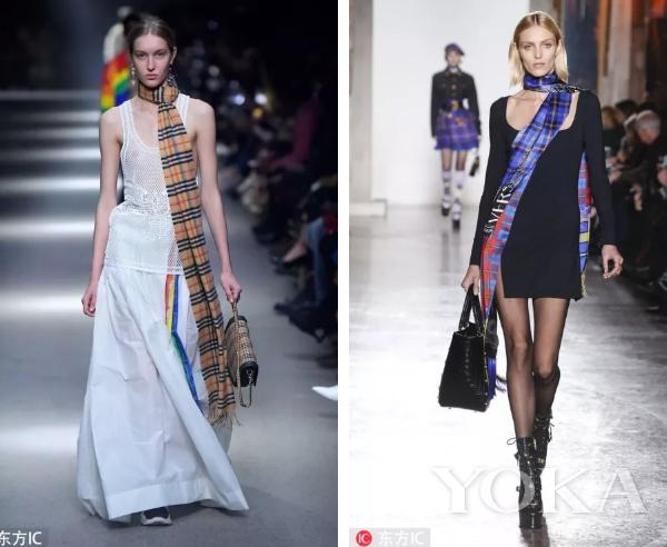 左:Burberry2018秋冬秀场 右:Versace 2018秋冬秀场 图片来源:东方IC