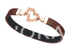 Wulu 18K玫瑰金钻石链扣(小)及可替换 咖啡色牛皮皮带